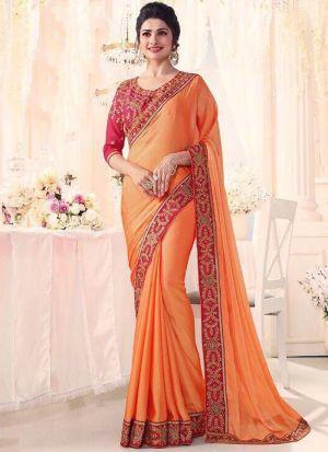 Prachi Desai Bollywood Repilca Orange Rangoli Georgette Silk Designer Saree