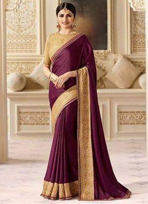 Prachi Desai Bollywood Repilca Purple Sparkle Silk Designer Saree