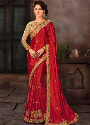 Prachi Desai Bollywood Repilca Red Chinon Silk Designer Saree