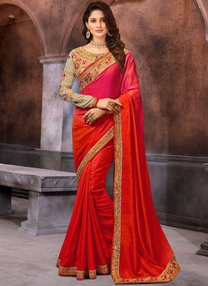 Prachi Desai Bollywood Repilca Red Rangoli Georgette Silk Designer Saree