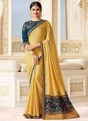 Prachi Desai Bollywood Repilca Yellow Joya Silk Designer Saree