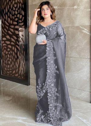 Premium Organza Silk Grey Saree