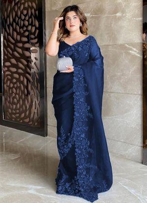Premium Organza Silk Midnight Blue Saree