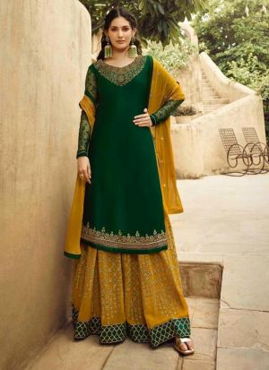 Pretty Embroidered Dark Green Salwar Suit