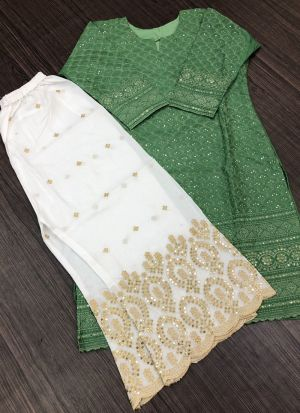 Pretty Light Green Sequence Work Palazzo Suit