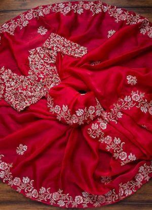 Pretty Red Heavy Organza Saree
