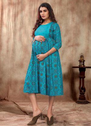 Pretty Sky Blue Rayon Kurti For Women