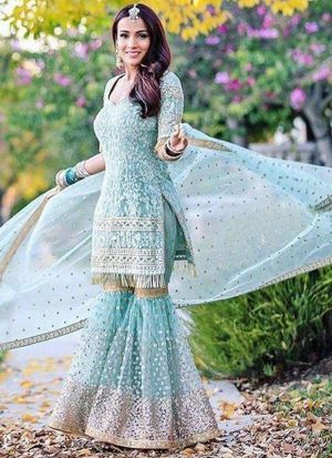 Pretty Sky Georgette Sequence Palazzo Suit