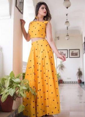 Pretty Yellow Poly Cotton Lehenga Choli