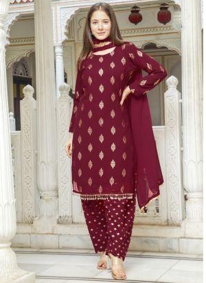 Printed Georgette Maroon Suit