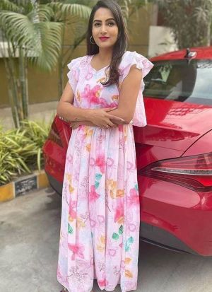 Printed Light Pink Georgette Dress