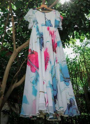 Printed Multi Color Georgette Dress