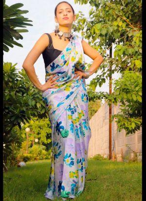 Printed Off White Saree In Satin Silk Fabric