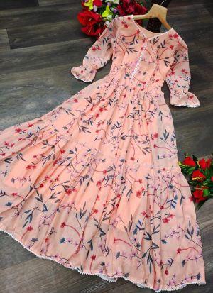 Printed Peach Georgette Fashion Wear