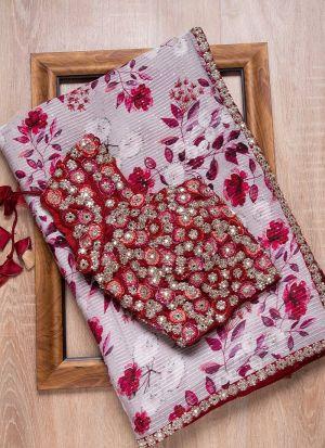 Printed Rajwadi Silk Off White Saree