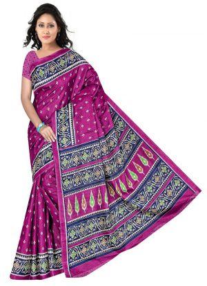 Printed Rice Silk Multi Color Saree