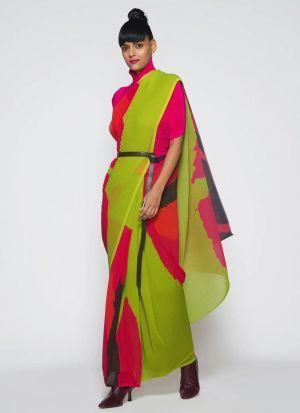 Printed Silk Blend Multi Color Saree