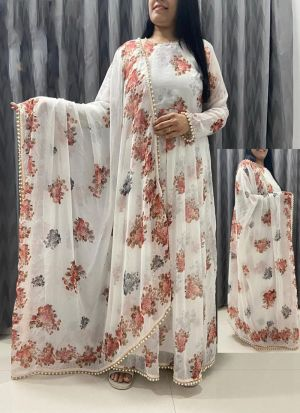 Printed White Georgette Long Suit