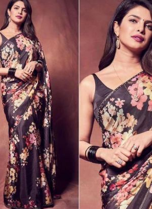 Priyanka Chopra Black Georgette Saree