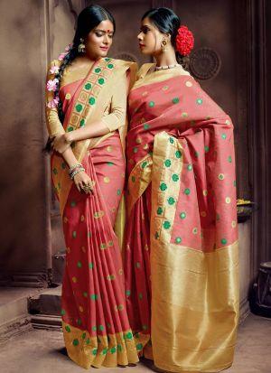 Pure Banarasi Silk Red Indian Wedding Saree Collection
