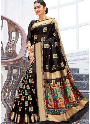 Pure Chanderi Cotton Black Festive Wear Indian Traditional Saree