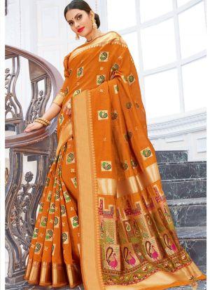 Pure Chanderi Cotton Mustard Designer Traditional Saree