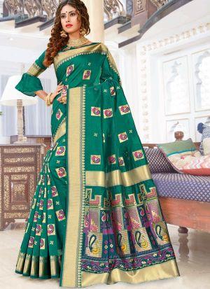 Pure Chanderi Cotton Sea Green Designer Traditional Saree