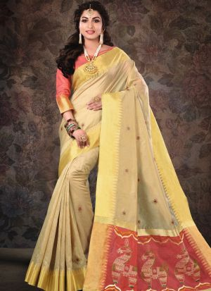 Pure Crystal Silk Beige Party Wear Saree Collection