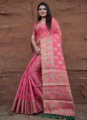 Pure Lichi Silk Pink Festive Saree