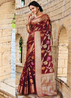 Pure Silk Maroon Traditional Designer Saree Collection