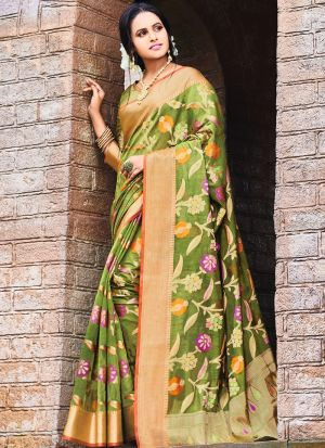 Pure Silk Parrot Party Wear Saree Collection