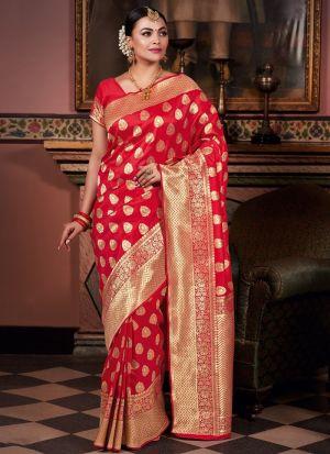Pure Silk Red Ceremonial Trendy Saree