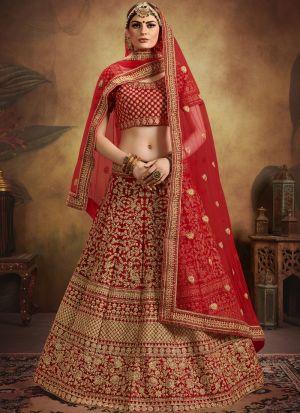 Pure Velvet Red Color Elegant Collection Lehenga Choli For Indian Bridal