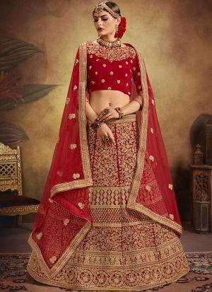Pure Velvet Red Designer Exclusive Bridal Lehenga Choli Soft Net Dupatta