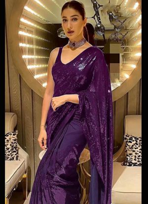 Purple Georgette Saree For Party
