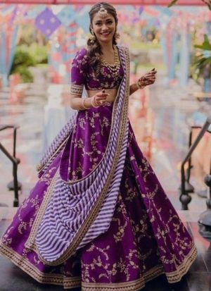 Purple Lehenga Choli With Stripped Dupatta