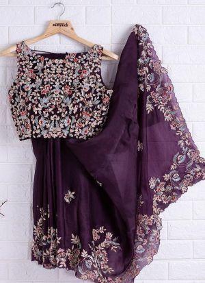 Purple Rangoli Wedding Wear Saree