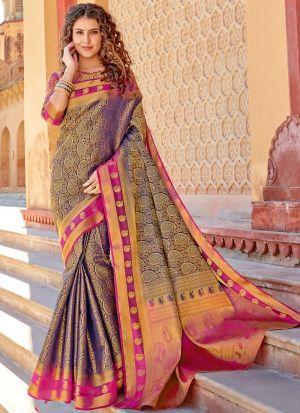 Purple Silk Beutiful Wedding Saree