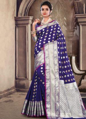 Purple Soft Silk Festive Wear Traditional Saree
