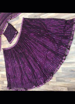 Purple Sparkle Lining Foil Work Lehenga