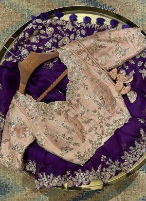 Purple Zari Work Organza Silk Saree