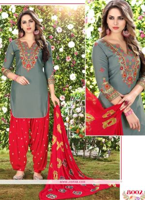Queen Of Patiyala 8002 Grey Embroidered Traditional Salwar Suit