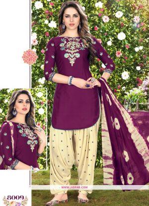 Queen Of Patiyala 8009 Dark Purple Glaze Cotton Designer Salwar Suit