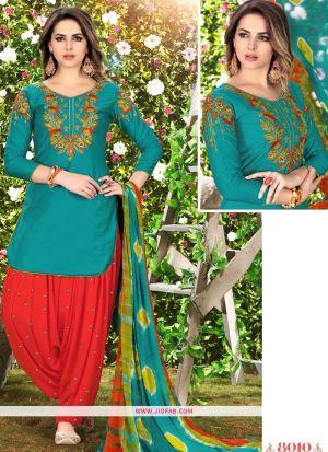 Queen Of Patiyala 8010 Rama Glaze Cotton Punjabi Suits For Women