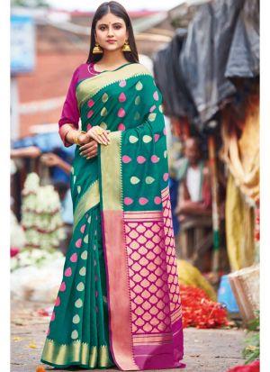 Rama Handloom Cotton Designer Indian Saree