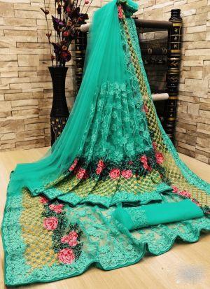 Rama Net Flower Embroidery Saree