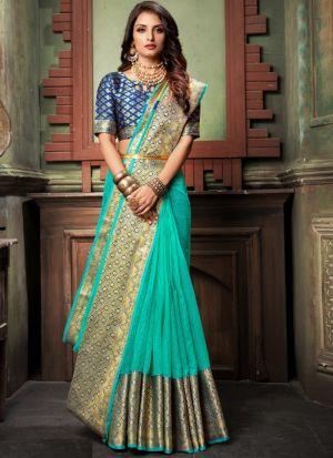 Rama Traditional Wear Saree In Kota Doria Checks Fabric