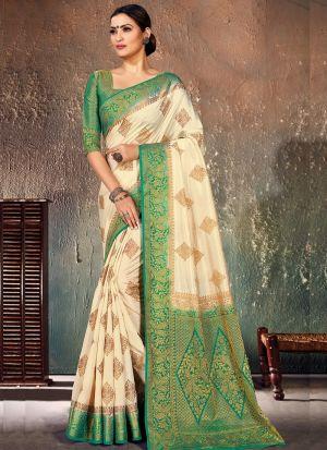 Rama Wedding And Party Wear Naylon Silk Saree