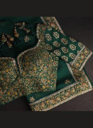 Rangoli Georgette Silk Dark Green Saree