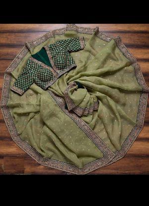 Rangoli Georgette Silk Olive Green Thread Work Saree